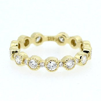 Bezel Set Round Diamond Band in Yellow Gold