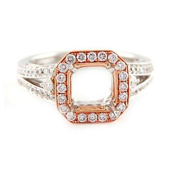 Rose & White Gold Diamond Ring Mounting