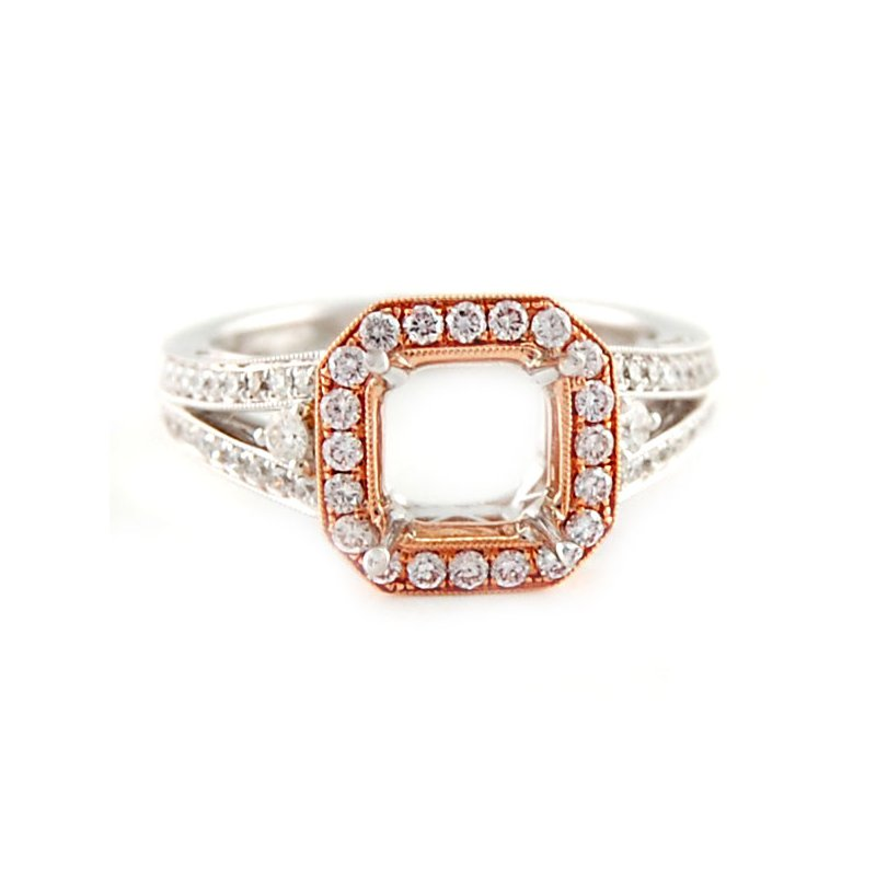 Decor Rose & White Gold Diamond Ring Mounting