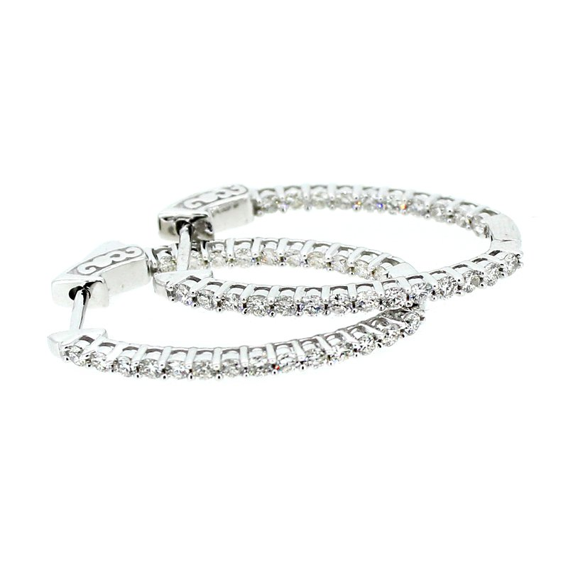 Decor 1.00ctw Oval Diamond Hoop Earrings