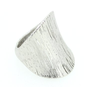 White Gold Wide Concave Ring