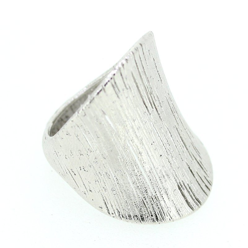 Decor White Gold Wide Concave Ring
