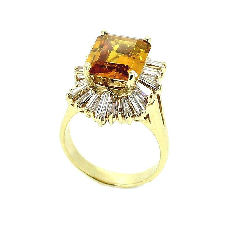 Decor Citrine & Diamond Halo Ring