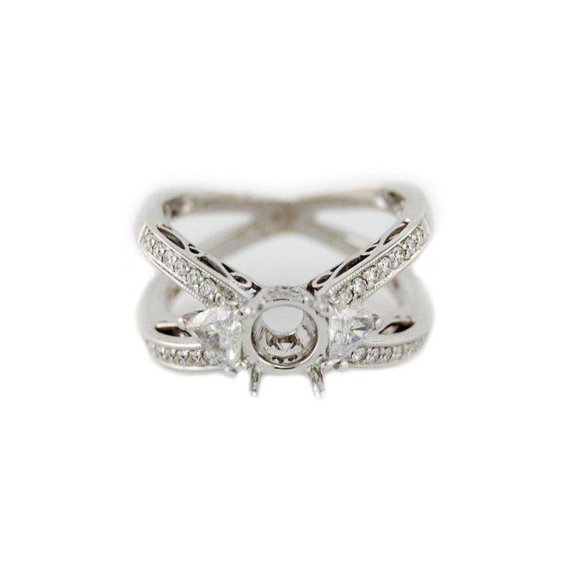 Decor Open Double Row Diamond Ring Mounting
