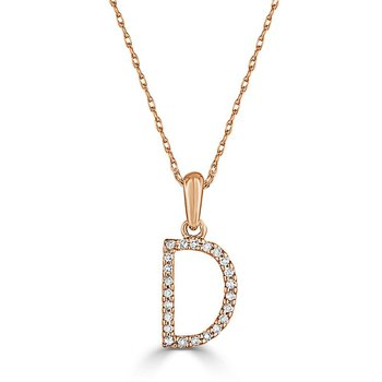 "Initial ""D"" Diamond Necklace"