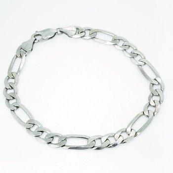 White Gold Figaro Link Bracelet