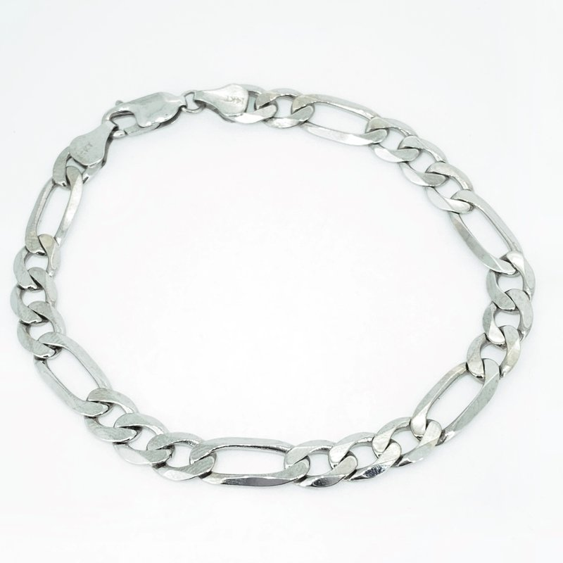 Decor White Gold Figaro Link Bracelet