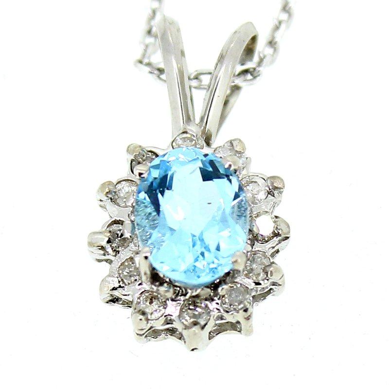 Decor Blue Topaz & Diamond Pendant