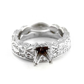 Scalloped Diamond Mounting Wedding Set
