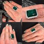 Decor Natural Emerald & Diamond Halo Ring