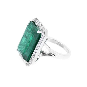 Natural Emerald & Diamond Halo Ring