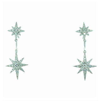 Diamond Star Dangle Earrings
