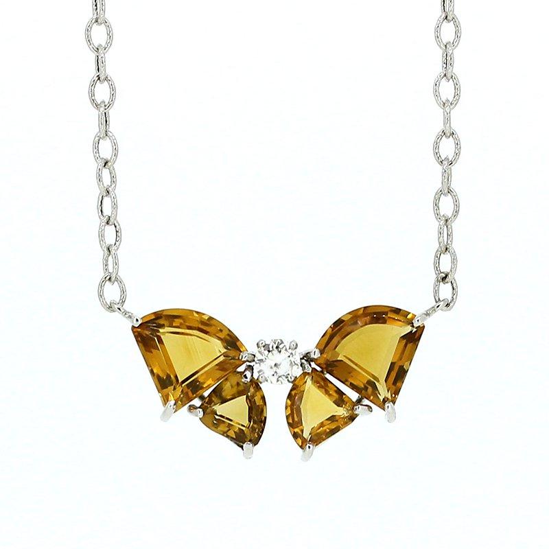 Decor Citrine & Diamond Bow Necklace
