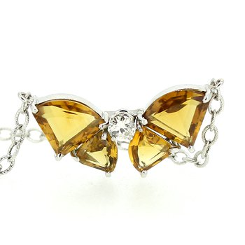 Citrine & Diamond Bow Necklace