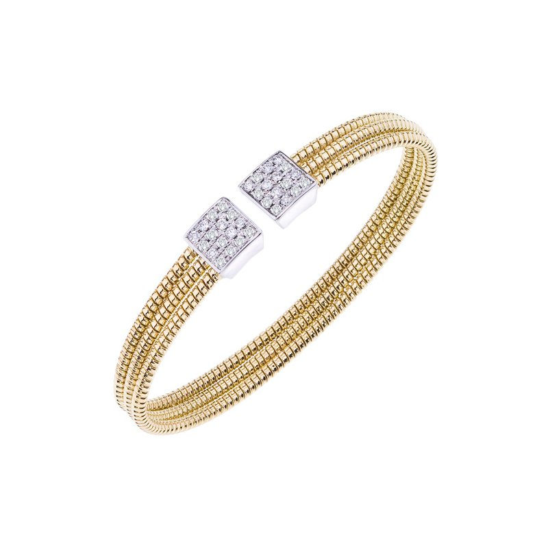 DA Gold Pave Squares Diamond Cuff Bracelet