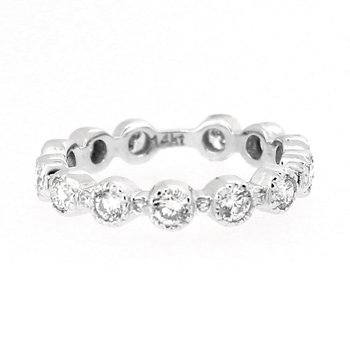 Bezel Set Round Diamond Band in White Gold
