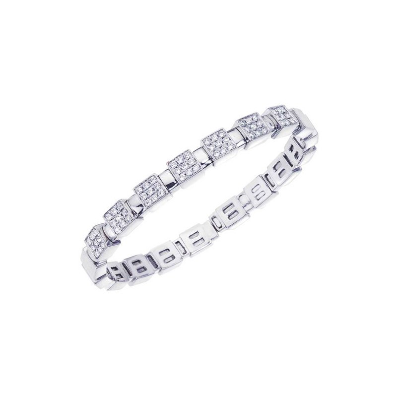 DA Gold Pave Diamond Squares Bracelet