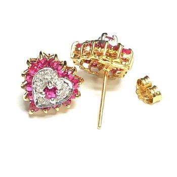 Ruby and Diamond Heart Studs