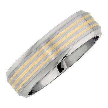 Gent's Wedding Band in Titanium and 14k Yellow Gold