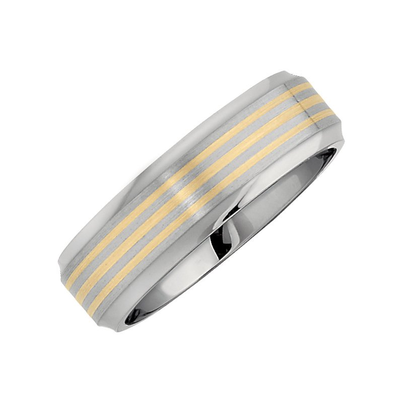 Decor Gent's Wedding Band in Titanium and 14k Yellow Gold