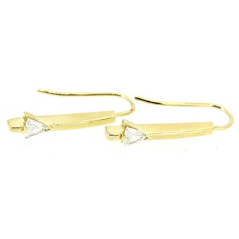Gold Trillion Diamond Drop Earrings
