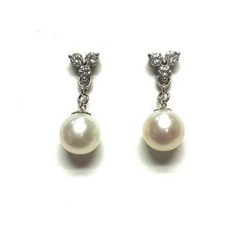 Diamond Drop Pearl Earrings