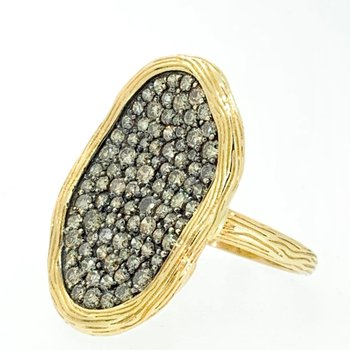 Brown Diamond Wavy Cluster Ring