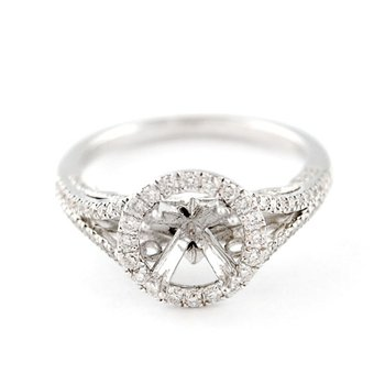 Round Halo Split Shank Diamond Engagement Ring Mounting