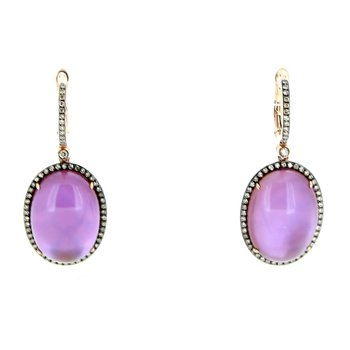 Amethyst & Brown Diamond Drop Earrings