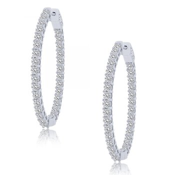 4ctw Oval Inside Outside Diamond Hoop Earrings