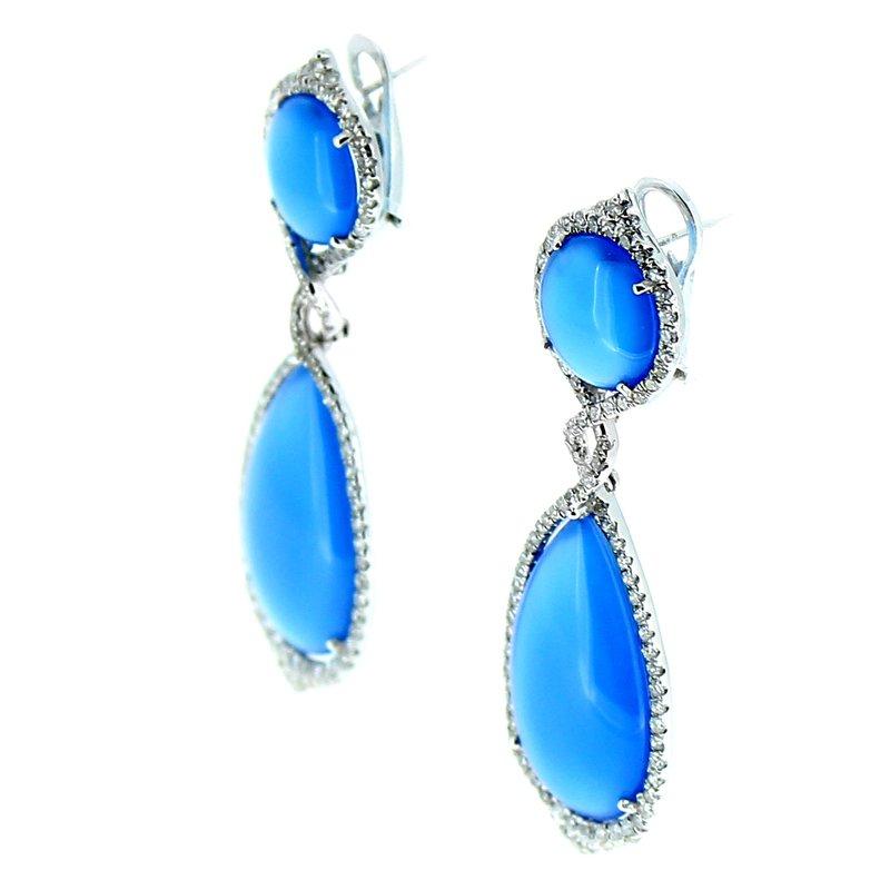 Sophia By Design Blue Agate & Diamond Drop Earrings