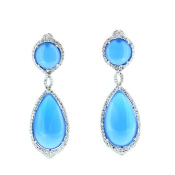 Blue Agate & Diamond Drop Earrings