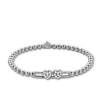White Gold Beaded Diamond Heart Slider Bracelet
