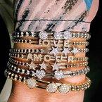 Hulchi Belluni White Gold Beaded Diamond Heart Slider Bracelet