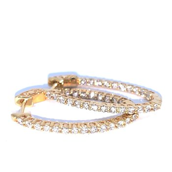 1.00ctw Oval Diamond Hoop Earrings