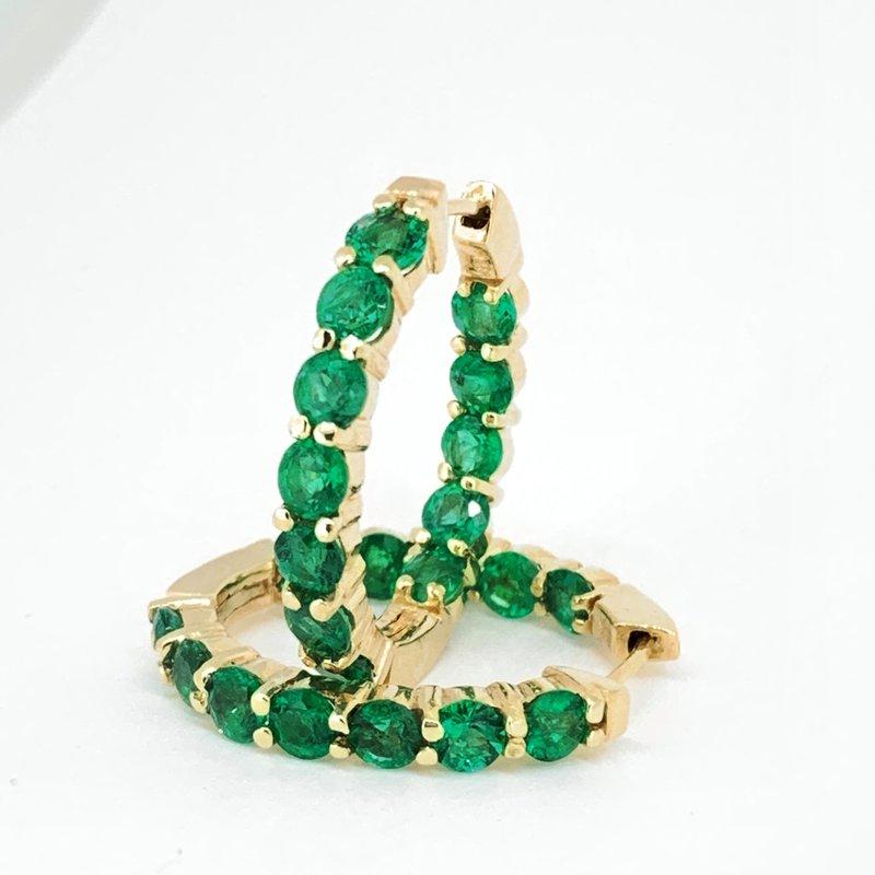 Decor Emerald Hoop Earrings