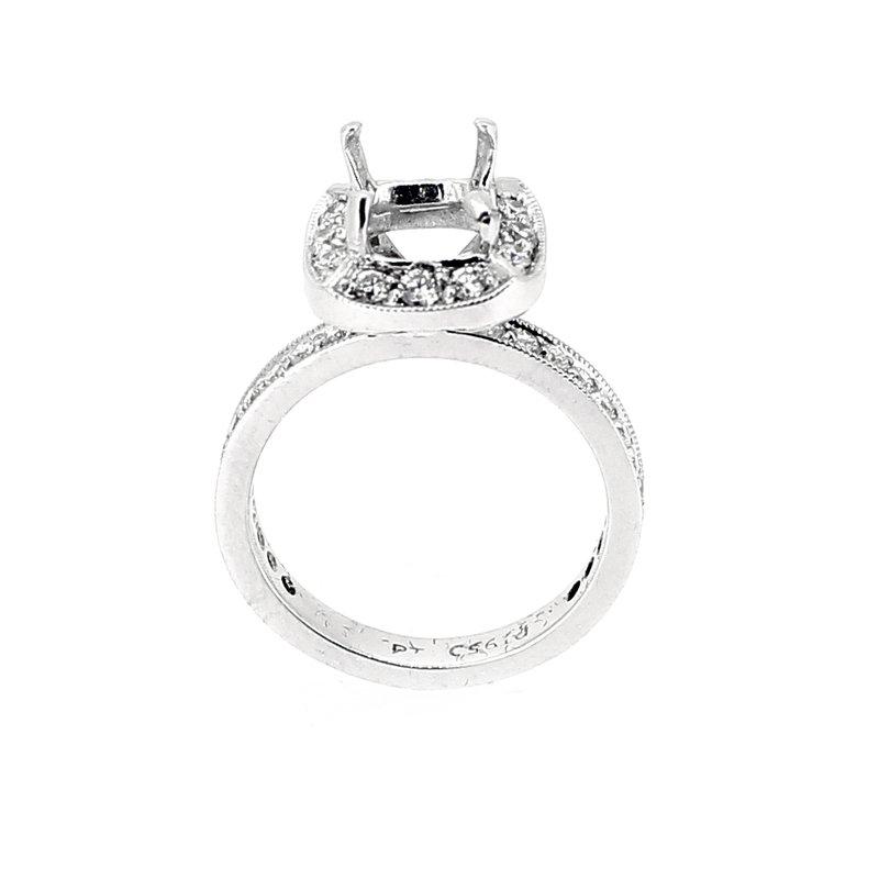 Decor Platinum Halo Engagement Ring Mounting