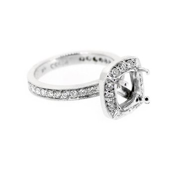 Platinum Halo Engagement Ring Mounting