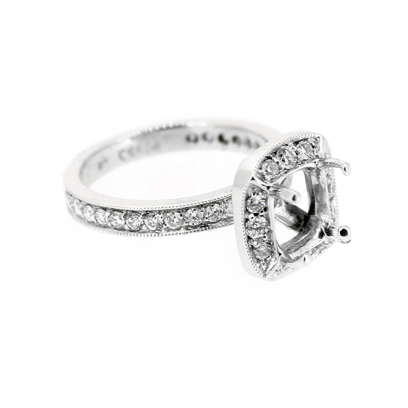 Decor Platinum Halo Engagement Ring Mounting