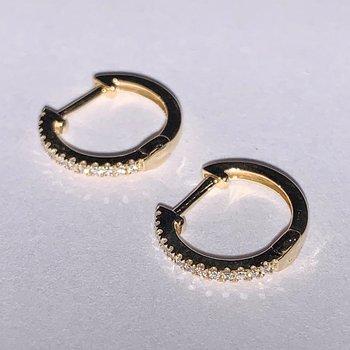 Dainty Diamond Huggie Hoop Earrings