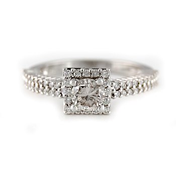.98ctw Square Diamond Halo Engagement Ring