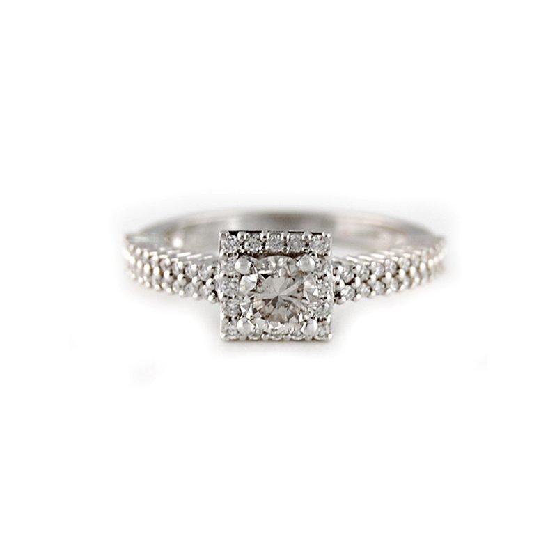 Decor .98ctw Square Diamond Halo Engagement Ring