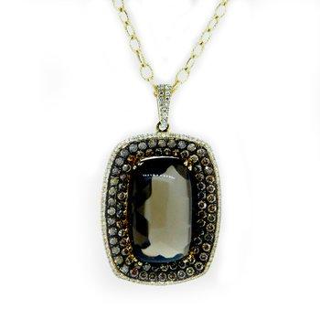 Smokey Topaz Diamond Halo Necklace