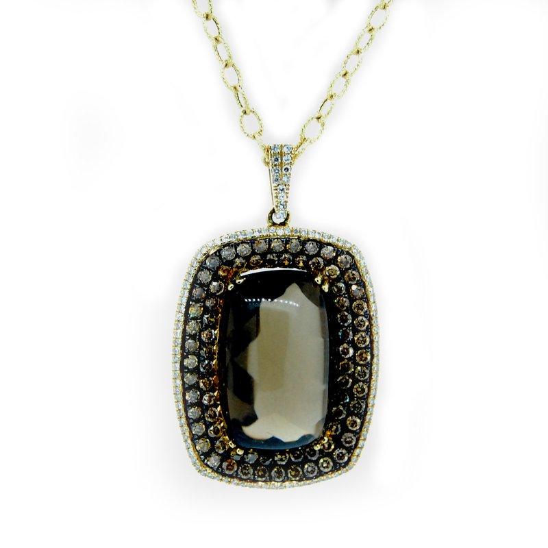 Decor Smokey Topaz Diamond Halo Necklace