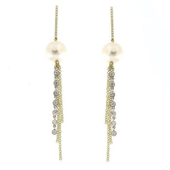 Pearl & Diamond Tassel Drop Earrings