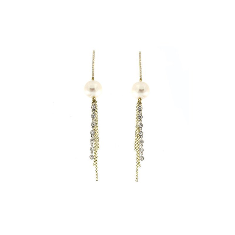 Meira T Pearl & Diamond Tassel Drop Earrings