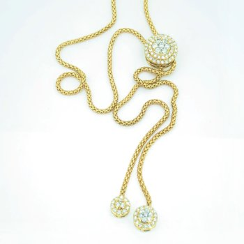 Long Diamond Bolo Necklace
