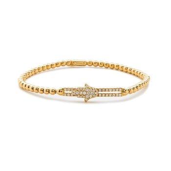 Yellow Gold Beaded Hamsa Diamond Slider Bracelet