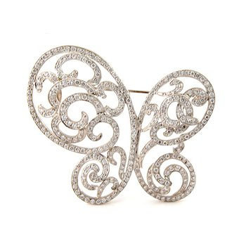 Estate Diamond Butterfly Brooch Pin