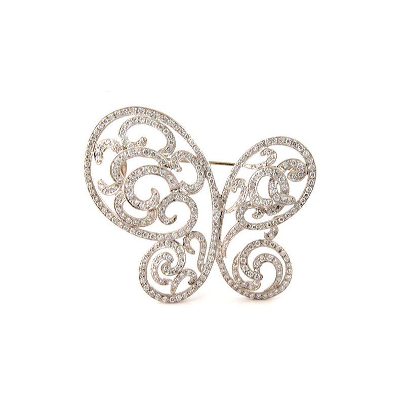 Decor Estate Diamond Butterfly Brooch Pin